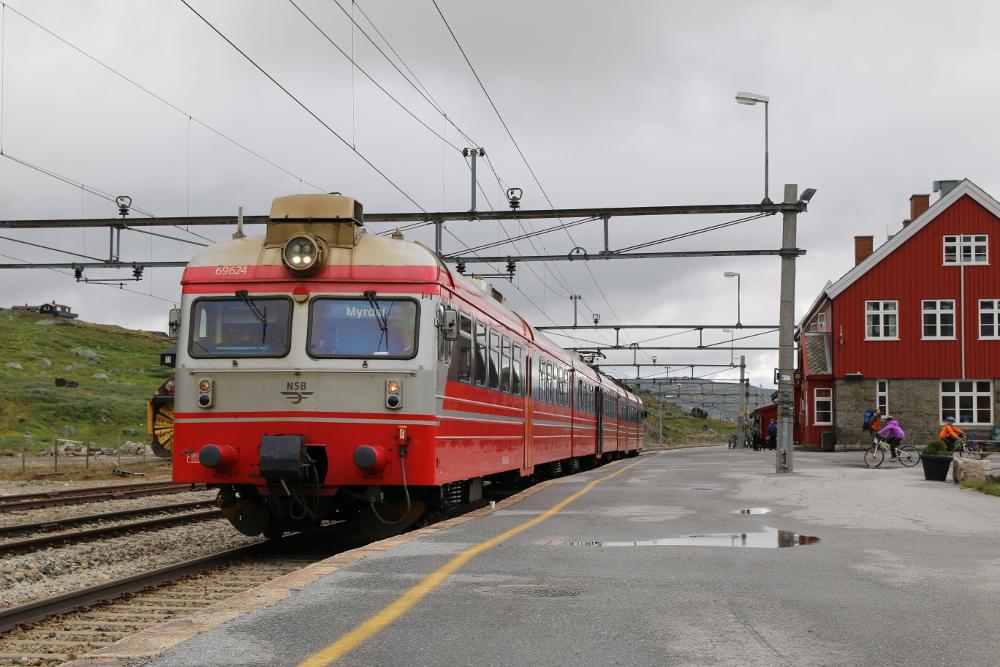 Der Zug nach Myrdal wartet auf Passagiere. ?