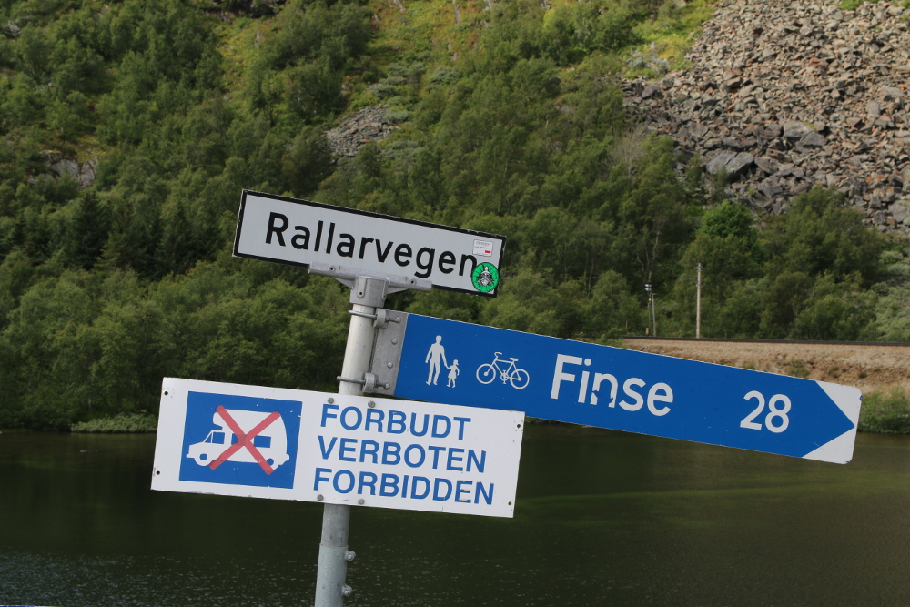 Das letzte Schild des Rallarvegen unmittelbar bei Haugastøl.