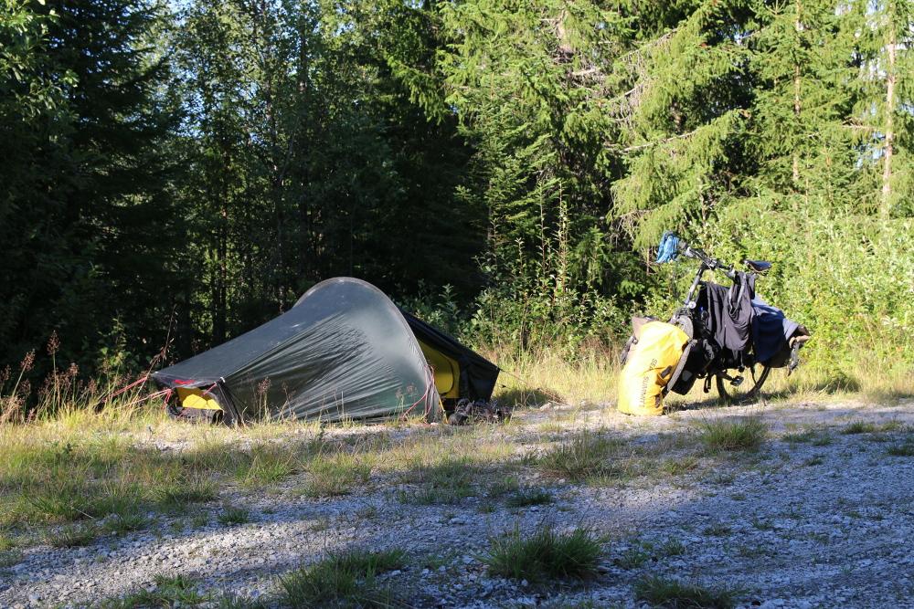 Mein Camp in der Abendsonne kurz hinter Geilo.
