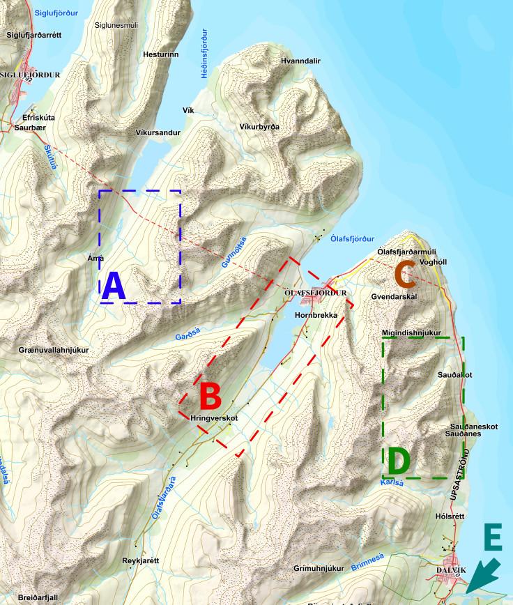 Übersichtskarte Trollhalbinsel (Vorlagenquelle: http://www.lmi.is).