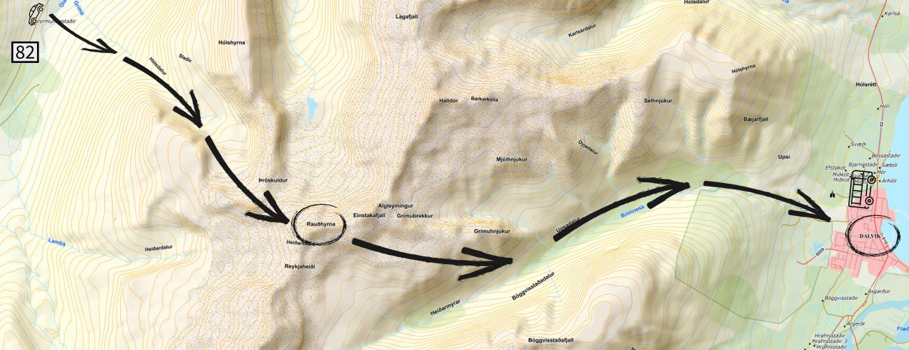 Geplante Überschreitung der Rauðhyrna (Vorlage von http://www.lmi.is)